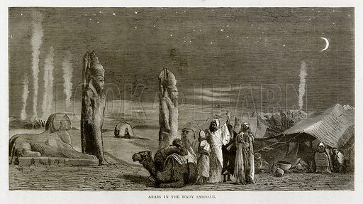 Arabs in the Wady Sabooah. Illustration from Land of the Pharaohs by Samuel Manning (Religious Tract Society, c 1880).