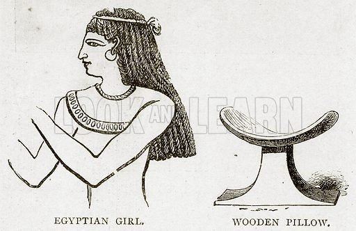 Egyptian Girl. Wooden Pillow. Illustration from Land of the Pharaohs by Samuel Manning (Religious Tract Society, c 1880).