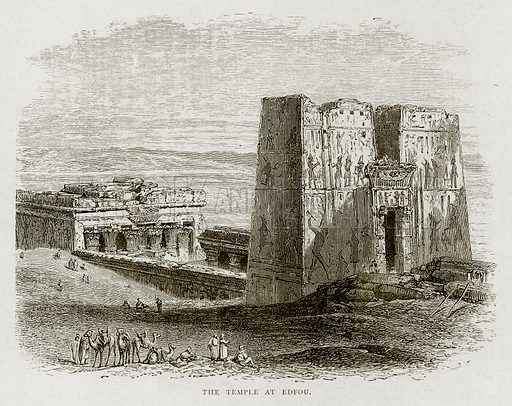 The Temple at Edfou. Illustration from Land of the Pharaohs by Samuel Manning (Religious Tract Society, c 1880).