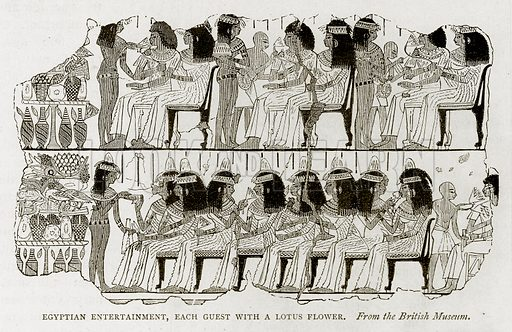 Egyptian Entertainment, each guest with a Lotus Flower. Illustration from Land of the Pharaohs by Samuel Manning (Religious Tract Society, c 1880).