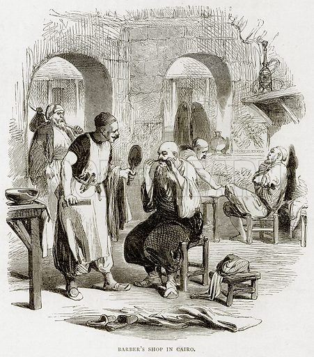 Barber's Shop in Cairo. Illustration from Land of the Pharaohs by Samuel Manning (Religious Tract Society, c 1880).