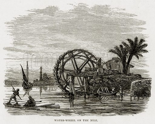 Water-Wheel on the Nile. Illustration from Land of the Pharaohs by Samuel Manning (Religious Tract Society, c 1880).