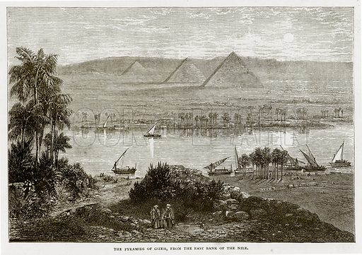 The Pyramids of Gizeh, from the East Bank of the Nile. Illustration from Land of the Pharaohs by Samuel Manning (Religious Tract Society, c 1880).