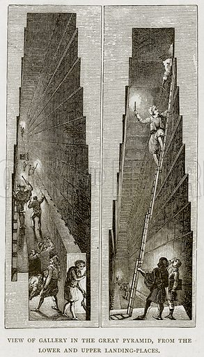 View of Gallery in the Great Pyramid, from the lower and upper Landing-Places. Illustration from Land of the Pharaohs by Samuel Manning (Religious Tract Society, c 1880).