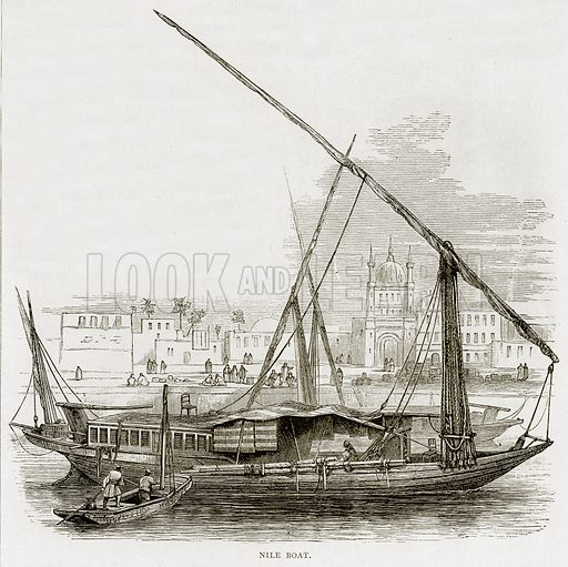 Nile Boat. Illustration from Land of the Pharaohs by Samuel Manning (Religious Tract Society, c 1880).