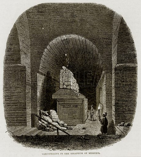 Sarcophagus in the Serapeum of Memphis. Illustration from Land of the Pharaohs by Samuel Manning (Religious Tract Society, c 1880).