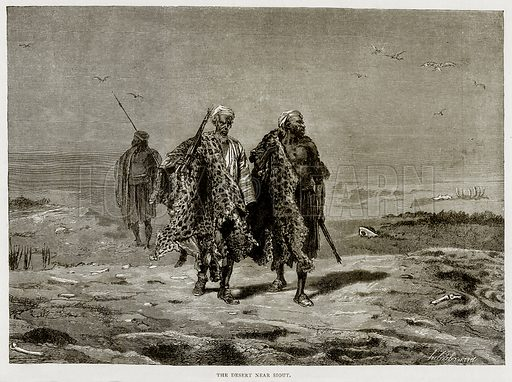 The Desert near Siout. Illustration from Land of the Pharaohs by Samuel Manning (Religious Tract Society, c 1880).