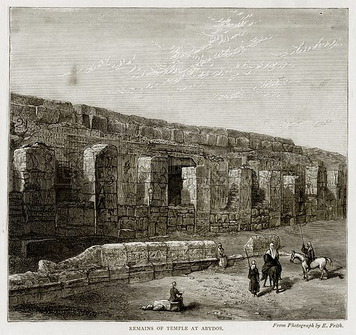 Remains of Temple at Abydos. Illustration from Land of the Pharaohs by Samuel Manning (Religious Tract Society, c 1880).