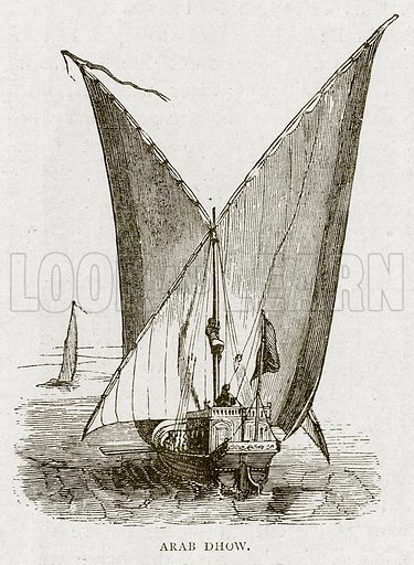 Arab Dhow. Illustration from Land of the Pharaohs by Samuel Manning (Religious Tract Society, c 1880).