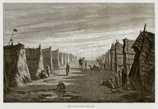 Arab Village near Port Said. Illustration from Land of the Pharaohs by Samuel Manning (Religious Tract Society, c 1880).