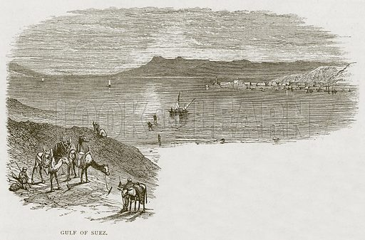 Gulf of Suez. Illustration from Land of the Pharaohs by Samuel Manning (Religious Tract Society, c 1880).