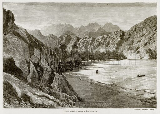 Jebel Serbal, from Wady Feiran. Illustration from Land of the Pharaohs by Samuel Manning (Religious Tract Society, c 1880).