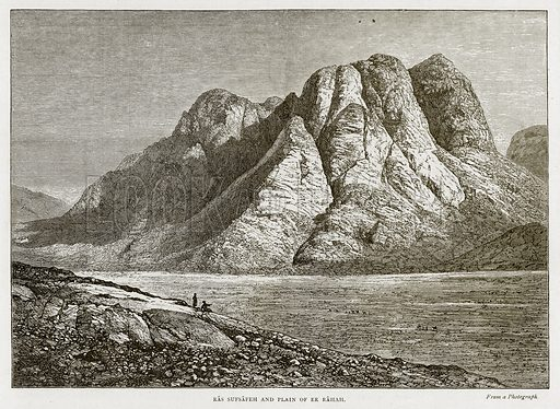 Ras Sufsafeh and Plain of Er Rahah. Illustration from Land of the Pharaohs by Samuel Manning (Religious Tract Society, c 1880).