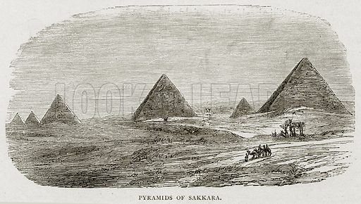 Pyramids of Sakkara. Illustration from Land of the Pharaohs by Samuel Manning (Religious Tract Society, c 1880).