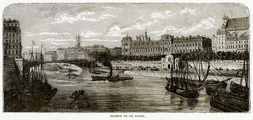 Bridge of St. Louis. Illustration from French Pictures by Samuel Green (Religious Tract Society, c 1880).