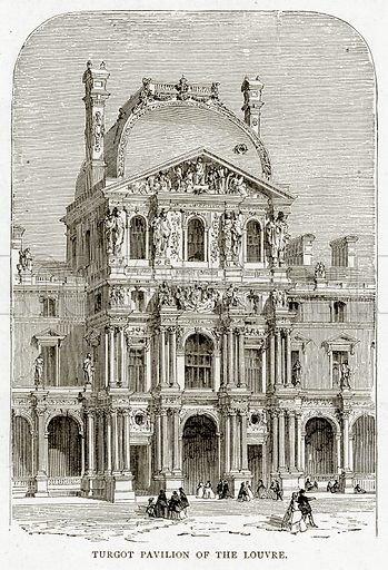 Turgot Pavilion of the Louvre. Illustration from French Pictures by Samuel Green (Religious Tract Society, c 1880).