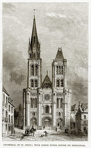 Cathedral of St Denis; with North Tower before its demolition. Illustration from French Pictures by Samuel Green (Religious Tract Society, c 1880).