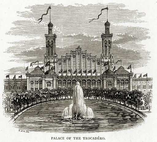 Palace of the Trocadero. Illustration from French Pictures by Samuel Green (Religious Tract Society, c 1880).