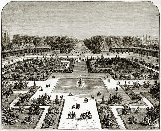 The Parterre, Fontainebleau. Illustration from French Pictures by Samuel Green (Religious Tract Society, c 1880).