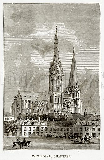 Cathedral, Chartres. Illustration from French Pictures by Samuel Green (Religious Tract Society, c 1880).