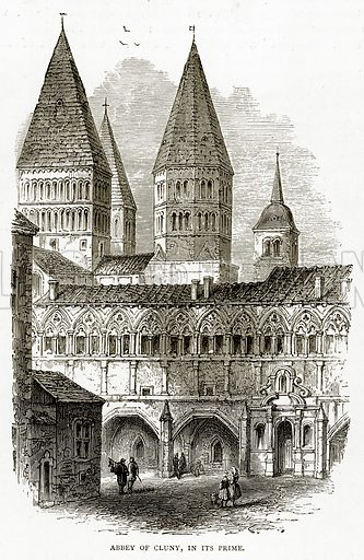 Abbey of Cluny, in its prime. Illustration from French Pictures by Samuel Green (Religious Tract Society, c 1880).