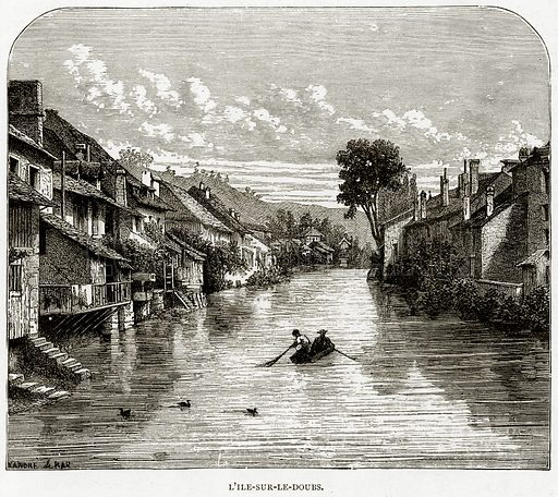 L'ile-Sur-le-Doubs. Illustration from French Pictures by Samuel Green (Religious Tract Society, c 1880).