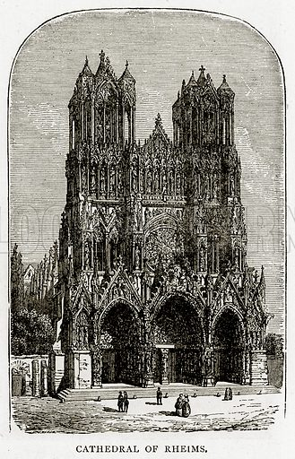 Cathedral of Rheims. Illustration from French Pictures by Samuel Green (Religious Tract Society, c 1880).