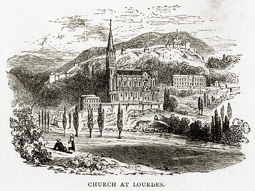 Church at Lourdes. Illustration from French Pictures by Samuel Green (Religious Tract Society, c 1880).