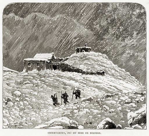 Observatory, Pic du Midi de Bigorre. Illustration from French Pictures by Samuel Green (Religious Tract Society, c 1880).