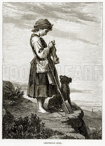 Shepherd Girl. Illustration from French Pictures by Samuel Green (Religious Tract Society, c 1880).
