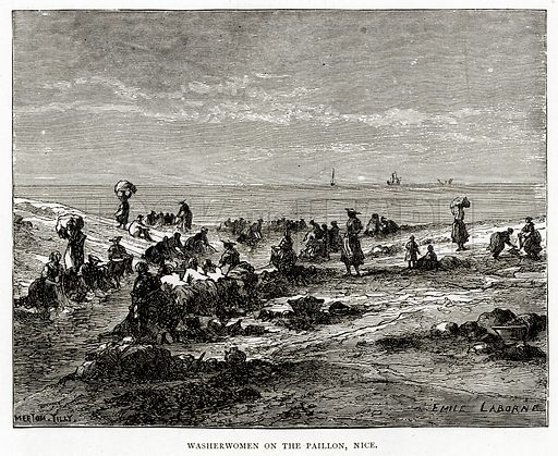 Washerwomen on the Paillon, Nice. Illustration from French Pictures by Samuel Green (Religious Tract Society, c 1880).