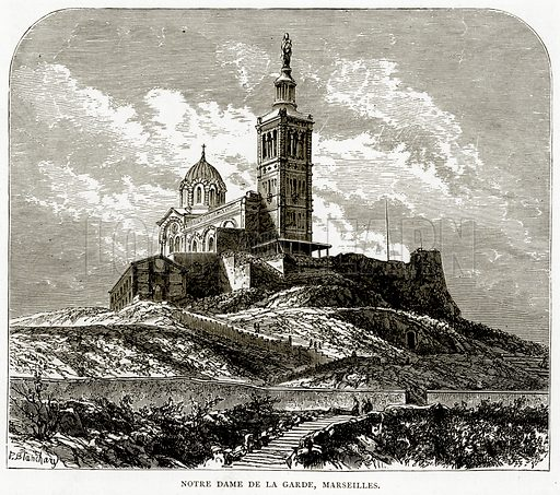 Notre Dame de la Garde, Marseilles. Illustration from French Pictures by Samuel Green (Religious Tract Society, c 1880).