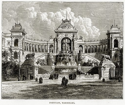 Fountain, Marseilles. Illustration from French Pictures by Samuel Green (Religious Tract Society, c 1880).