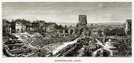 Amphitheatre, Arles. Illustration from French Pictures by Samuel Green (Religious Tract Society, c 1880).