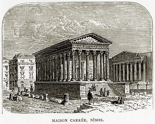 Maison Carree, Nimes. Illustration from French Pictures by Samuel Green (Religious Tract Society, c 1880).