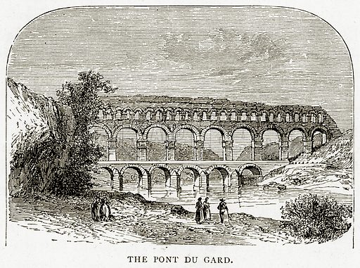 The Pont du Gard. Illustration from French Pictures by Samuel Green (Religious Tract Society, c 1880).