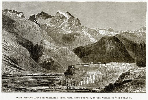 Mont Pelvoux and the Alefroide, from near Mont Dauphin, in the Valley of the Durance. Illustration from French Pictures by Samuel Green (Religious Tract Society, c 1880).