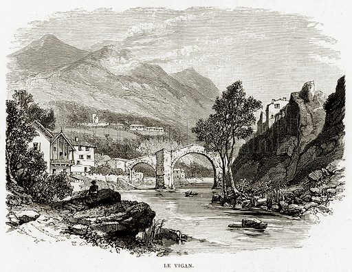 Le Vigan. Illustration from French Pictures by Samuel Green (Religious Tract Society, c 1880).
