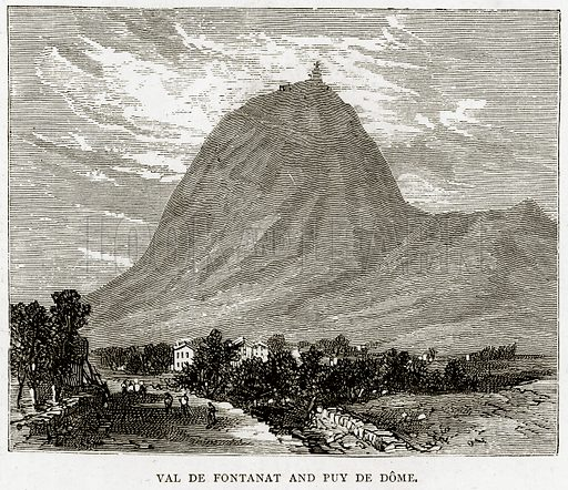 Val de Fontanat and Puy de Dome. Illustration from French Pictures by Samuel Green (Religious Tract Society, c 1880).