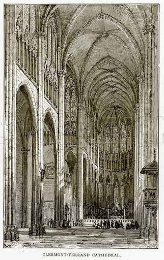 Clermont-Ferrand Cathedral. Illustration from French Pictures by Samuel Green (Religious Tract Society, c 1880).