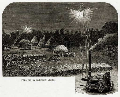 Farming by Electric Light. Illustration from French Pictures by Samuel Green (Religious Tract Society, c 1880).