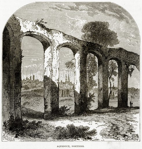 Aqueduct, Poictiers. Illustration from French Pictures by Samuel Green (Religious Tract Society, c 1880).