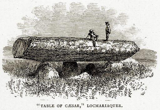 """""""Table of Caesar"""", Locmariaquer. Illustration from French Pictures by Samuel Green (Religious Tract Society, c 1880)."""