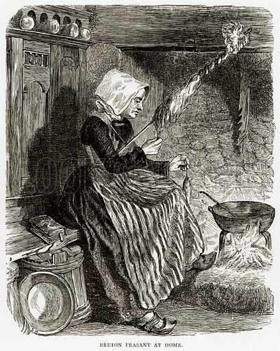 Breton Peasant at Home. Illustration from French Pictures by Samuel Green (Religious Tract Society, c 1880).