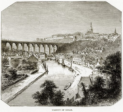Viaduct of Dinan. Illustration from French Pictures by Samuel Green (Religious Tract Society, c 1880).
