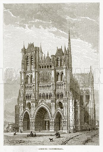 Amiens Cathedral. Illustration from French Pictures by Samuel Green (Religious Tract Society, c 1880).