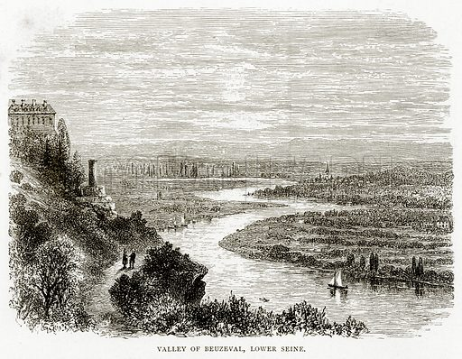 Valley of Beuzeval, Lower Seine. Illustration from French Pictures by Samuel Green (Religious Tract Society, c 1880).