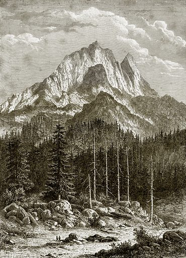 Le Pic du Midi D'ossau, Pyrenees. Illustration from French Pictures by Samuel Green (Religious Tract Society, c 1880).