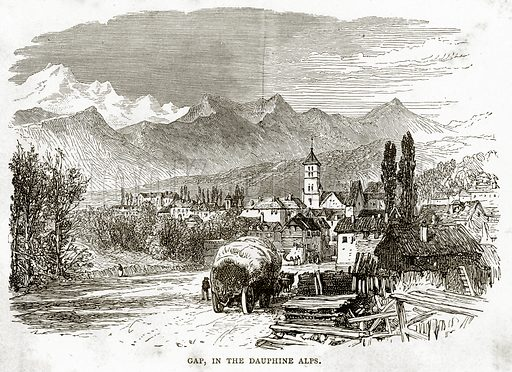 Gap, in the Dauphine Alps. Illustration from French Pictures by Samuel Green (Religious Tract Society, c 1880).