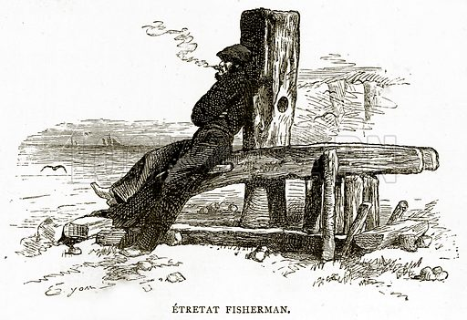 Etretat Fisherman. Illustration from French Pictures by Samuel Green (Religious Tract Society, c 1880).